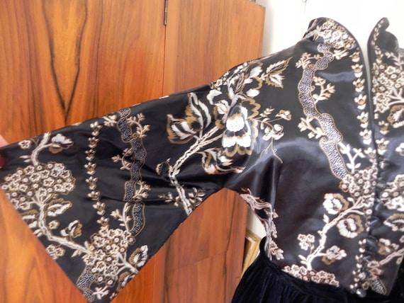 40s 1940s velvet dress/ satin cheongsam dress/ gow