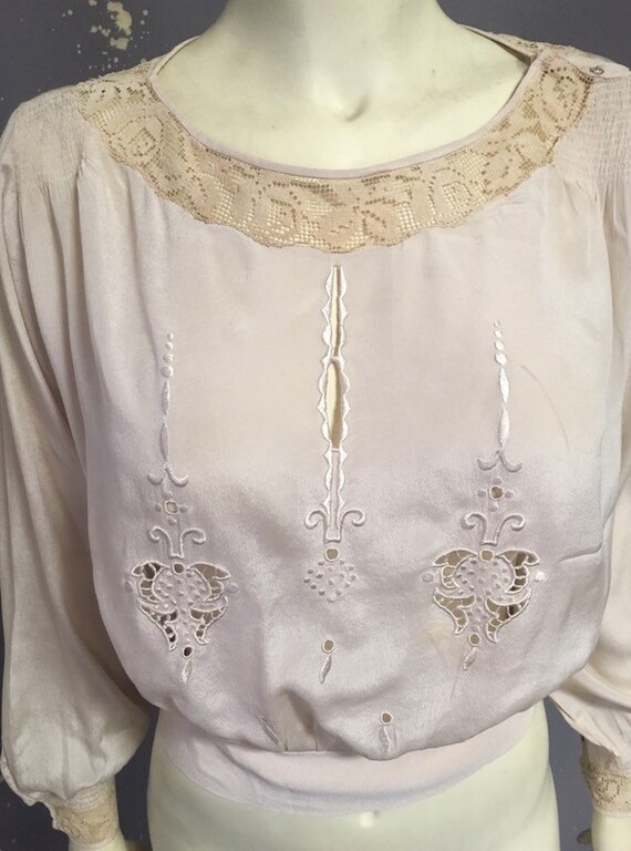 20s Victorian blouse/ ivory silk embroidered blou… - image 7