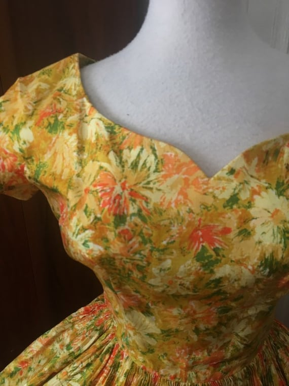Vtg 50s dress- madeleine fauth floral dress/ yello