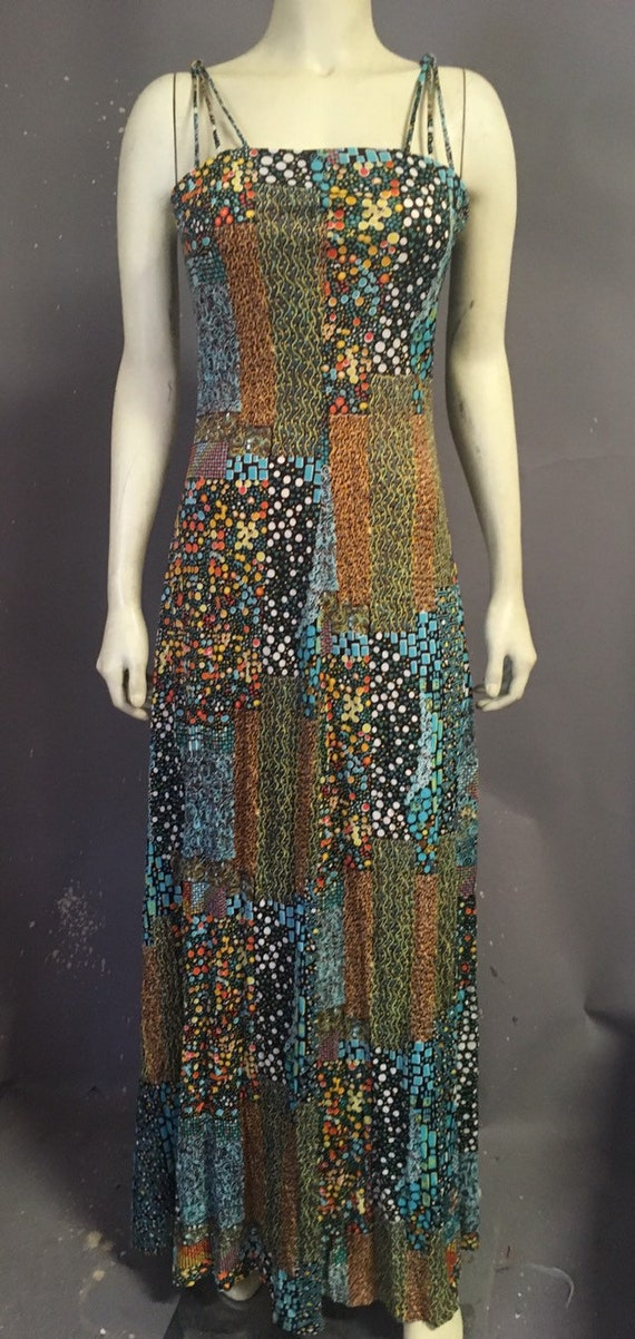 60s 70s psychedelic print dress/  poly jersey dre… - image 1