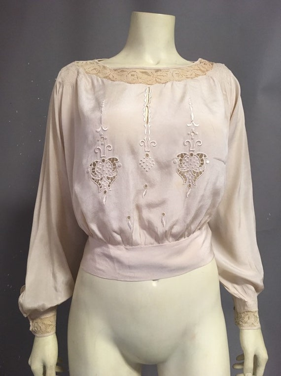 20s Victorian blouse/ ivory silk embroidered blou… - image 1