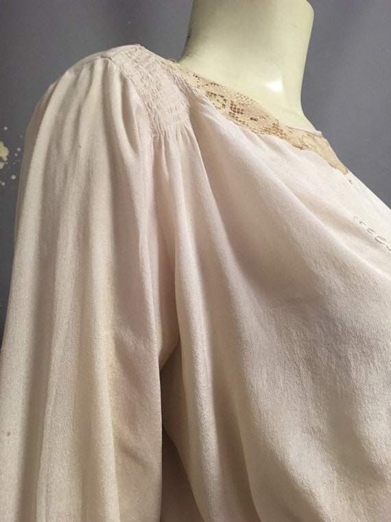 20s Victorian blouse/ ivory silk embroidered blou… - image 3