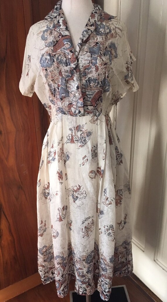 Sale Rare vtg 1950s silk novelty print dress- need