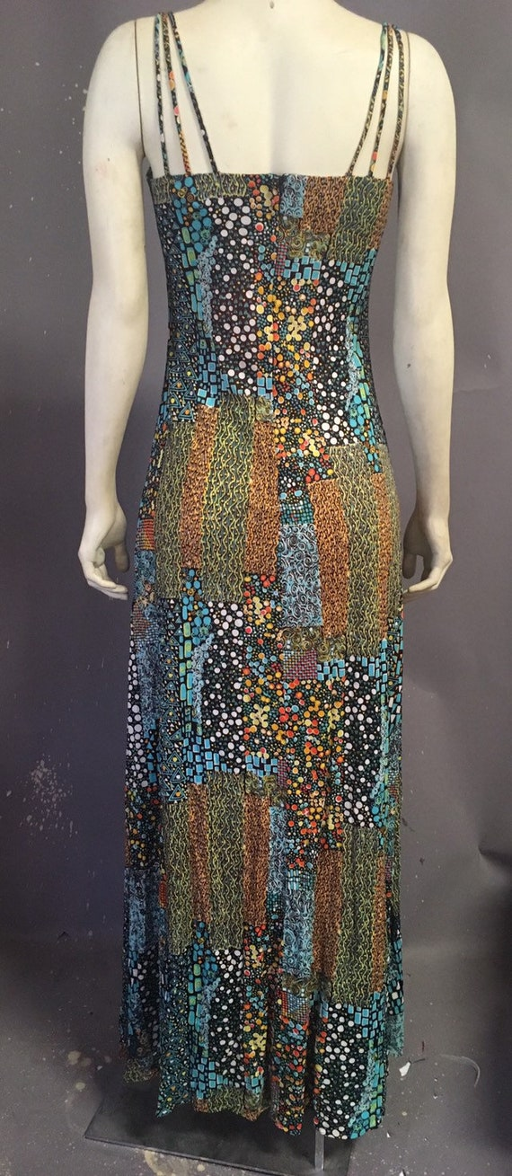 60s 70s psychedelic print dress/  poly jersey dre… - image 8