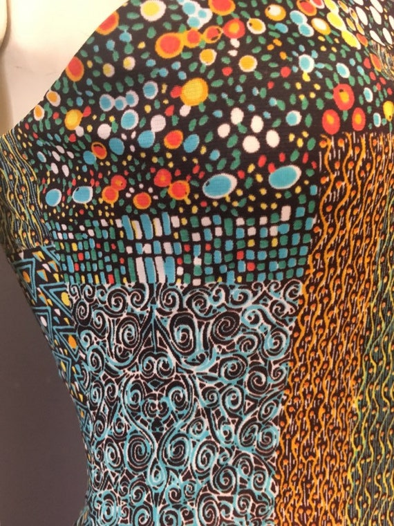 60s 70s psychedelic print dress/  poly jersey dre… - image 4