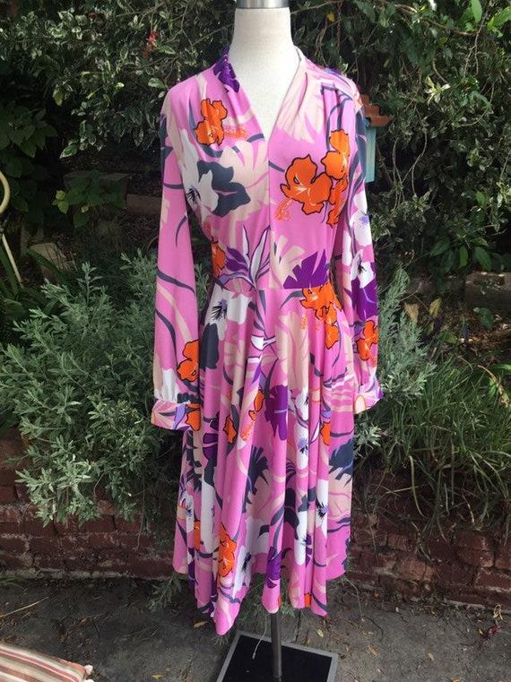 SALE 70s disco tropical dress jersey vintage 1970s m