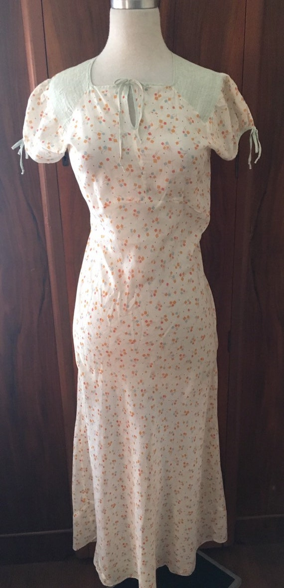 Vtg slip dress/20s 30s Cotton print Bias cut dress