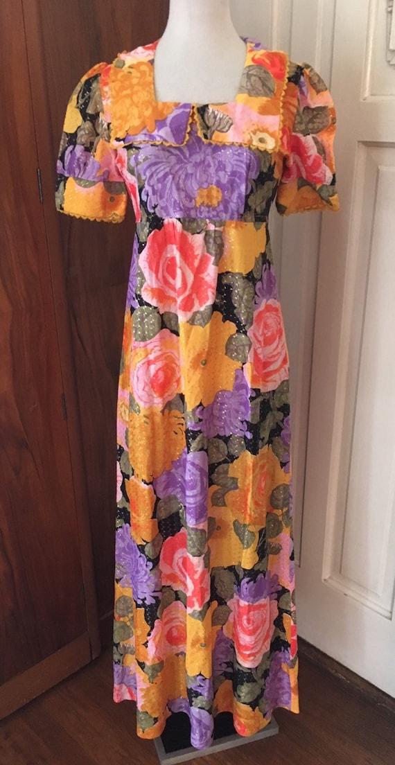 60s 70s  metallic maxi dress/ floral / puff sleeve