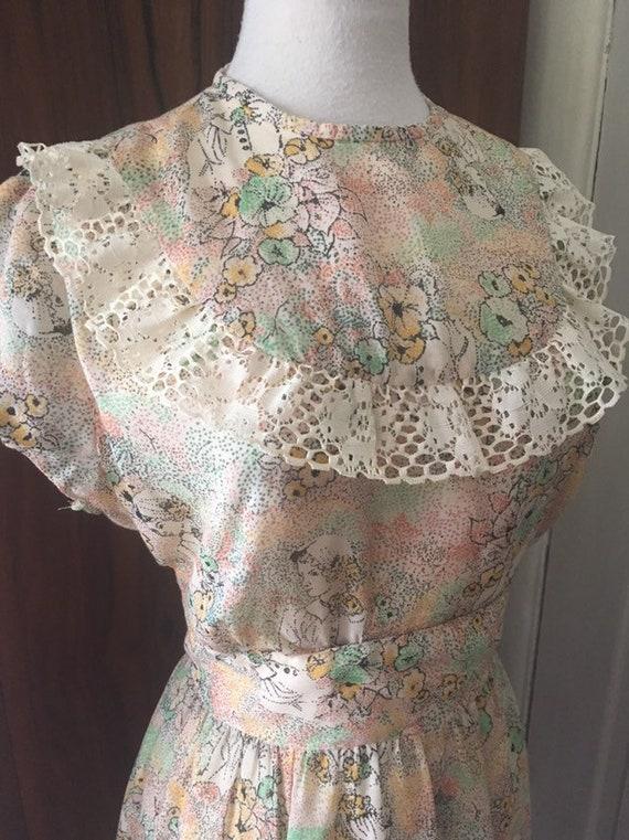 Vtg 70s dress/ bohemian/ romantic novelty fairy /