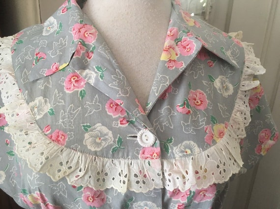 1930s cotton  dress/ 40s novelty cotton house dres