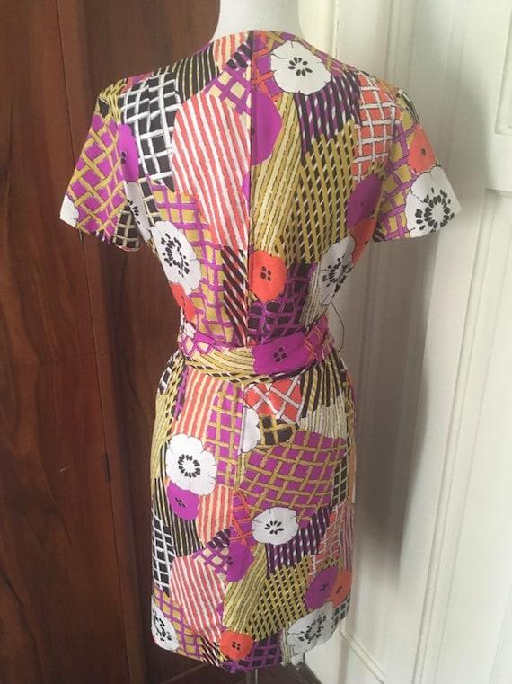 60s mod dress/ silky black patchwork pucci-esque … - image 6