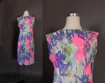1970s Tye Dye  Dress ,   60s Mod Neon Sheath Dress , Hippie 70s Dress M-L