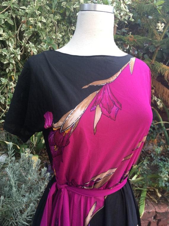 Vtg 70s black boho floral dress / m