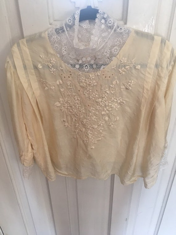 ivory victorian silk embroidered blouse/ M
