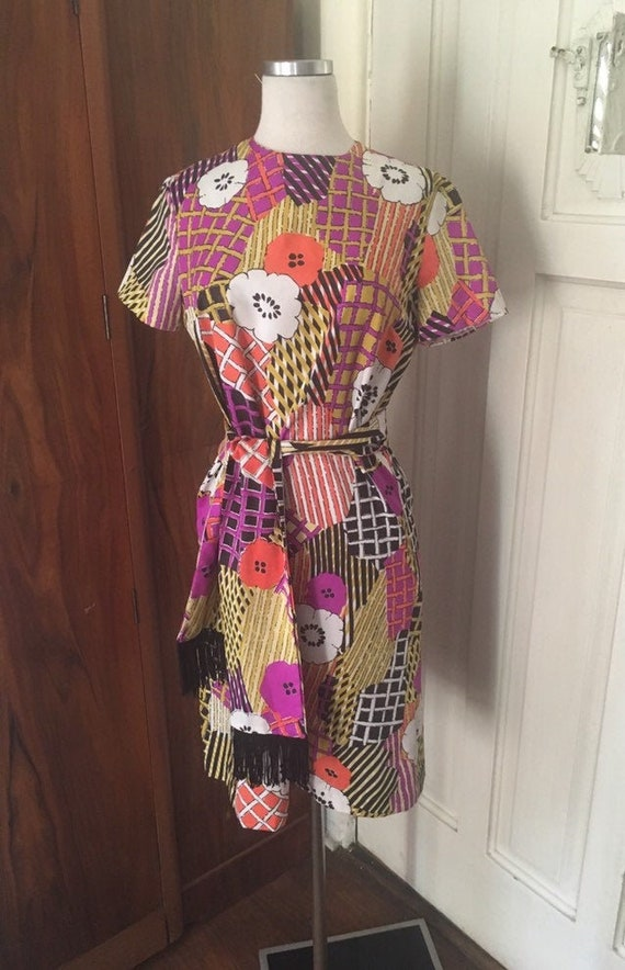 60s mod dress/ silky black patchwork pucci-esque … - image 1