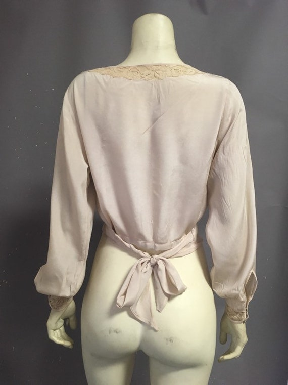 20s Victorian blouse/ ivory silk embroidered blou… - image 2