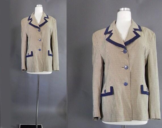 40s Jacket . 1940s Cute Navy Check Jacket- Sz M-L