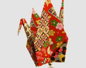 Red Diamonds and Waves Origami Peace Crane Ornament