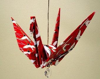 Red Flying Cranes Original Origami Peace Crane Ornament