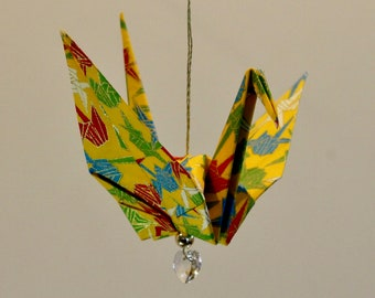 Yellow Paper Crane Fold Original Origami Peace Crane Ornament