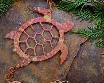 Red fire patina sea turtle copper wind chime