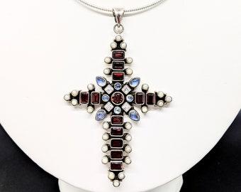 Anhänger pendant 925 Sterling SILBER silver Halskette Kreuz cross Türkis Onyx