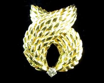 98fff40ee Vintage Tiffany & Co. Italy 18k Diamond Foxtail Brooch - 18k Tiffany Diamond  Fur Wrap Pin - 18k Tiffany Foxtail Diamond Pendant Brooch