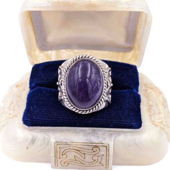 Unisex Boho Sterling Amethyst Ring - Bali Silver A