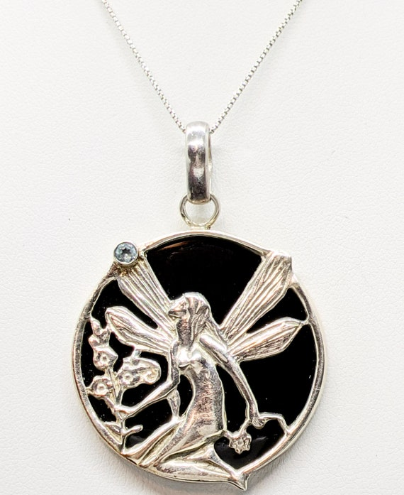 Silver Fairy Pendant Necklace, Large Fairy Necklac