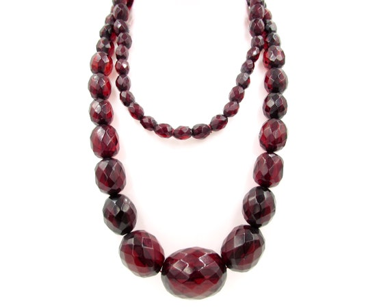 Vintage Faceted Cherry Amber Bakelite Necklace - A