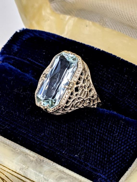 Art Deco White Gold Aquamarine Ring - 14k Antique
