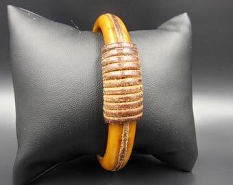 Vintage Leather Wrap Butterscotch Bakelite Bangle Bracelet - Caramel Leather Bakelite Bangle - Bakelite Bracelet - Leather Bakelite Bangle