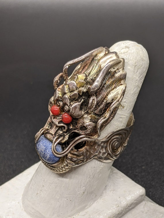 Antique Dragon Ring, Vintage Dragon Ring, Large St