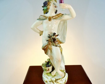 Antique Meissen Porcelain Bacchus Porcelain Figurine 19th Century - Meissen Seasons Series Fall German Porcelain Figure - German Porcelain