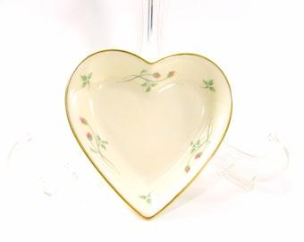 Vintage Lenox Rose Manor Heart Dish - Lenox Porcelain Rose Manor Heart Dish - Lenox China Gold & Pink Roses Dish - Lenox Heart Dish