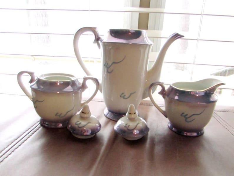 Vintage Blue Japanese Moriage Dragonware Geisha Face Lithophane Porcelain  Tea Set - Japanese Dragonware Tea Set Pearl Lustre Lithophane