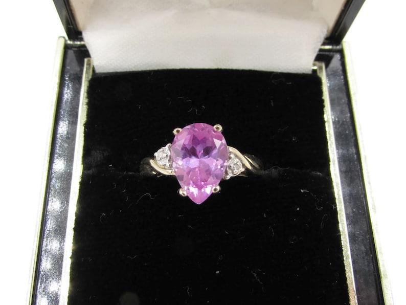 Modern 10k Diamond Pink Gemstone  Ring Ladies 10k Pear Cut Pink Topaz Ring Vintage 10k Gold Large Pink Topaz Teardrop Diamond Ring