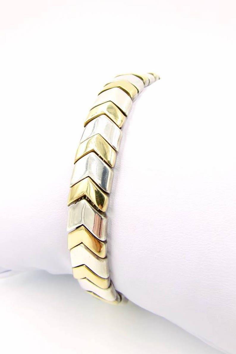 Vintage TIFFANY & CO  18kt Gold and Sterling Silver Chevron Bracelet - Rare  Sterling 18k Tiffany Co Chevron Bracelet - Tiffany Bracelet