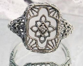 New Sterling Silver Filigree Art Deco Camphor Glass Ring - Antique Style Sterling Replica Sunray Glass Ring - Camphor Glass Sterling Ring