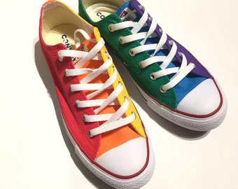 fbf72eead345 Color Blocked Gay Pride Rainbow Flag Custom Converse