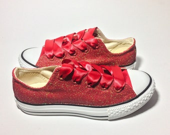 Ruby Red Glitter Custom Converse or Choose Your Color 64df01473