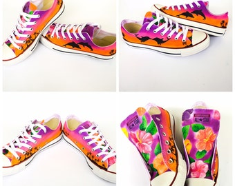 Custom Converse Hawaii Hibiscus Flower Beach Sunset and Dolphins Kissing cbdaba6b031e