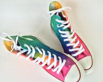 438f4c950d48 Tie Dye Converse Rainbow HIGH TOP Custom Shoes