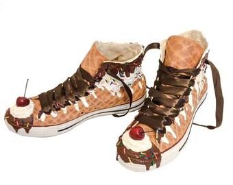 3c073e21e Ice Cream Custom Converse Sundae Shoes As Seen on Talk Stoop