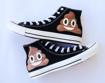 7ecc3094d9d Poop Emoji Custom Converse Shoes