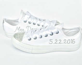 30b5623eff9 All White Custom Rhinestone Converse