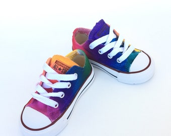 8833b8c40fa Infant and Toddler Rainbow Converse Tie Dye Low Tops
