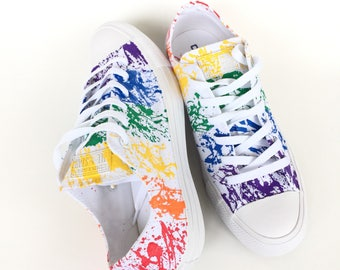 cc2150334282e9 Gay Pride Paint Splatter Monochrome White Custom Converse Shoes