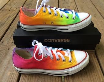 ef1746bd69261 Rainbow dye shoes   Etsy
