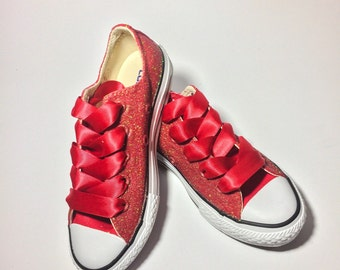 Kids Ruby Red Glitter Custom Kids Converse Choose Your Color c25b8754a